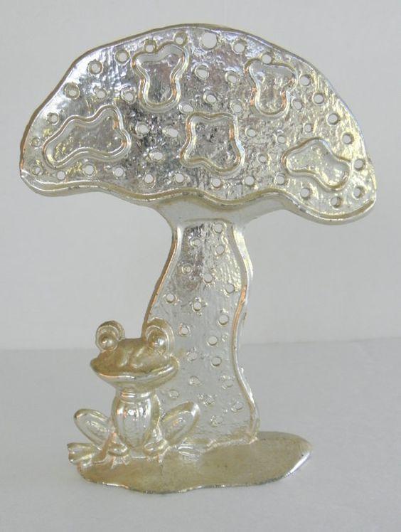 1970's Mushroom Frog Earring Silver Metal Earring by VintageGenie, $10.00
