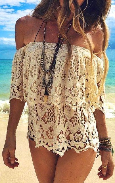 #style #summer fora os ombros rendaswachabuy