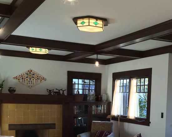 Arts And Crafts Style Living Room With Multiple Lights Craftsman Ceiling Arts And Crafts Interiors Lights Arts and crafts ceiling lights