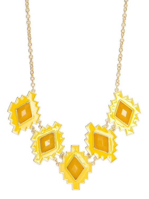 Enjoy the sun-kissed island life with this striking necklace. It works a fabulously graphic and geometric vibe while allowing for some glam notes, too—just check out those oversized faceted gems.
