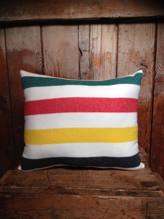 pillow made from olf Hudson Bay blanket