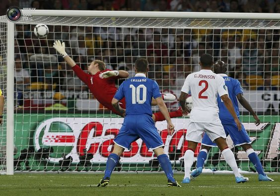 England's goalkeeper Hart dives for the ball from a shot by Italy's De Rossi which hit the post during their Euro 2012 quarter-final soccer match at the Olympic Stadium in Kiev. TONY GENTILE/REUTERS
