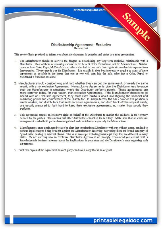 Free Printable Distributor Agreement Exclusive  Sample Printable