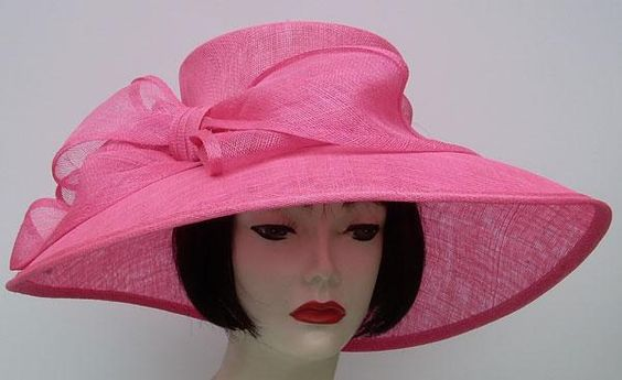 "Neon Pink Bow 6"" Brim Hat for the 2015 Oaks Race in Kentucky May 1"