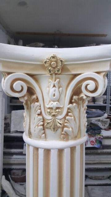 Coppia di colonne panna e oro foglia  3