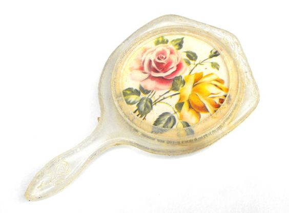 1940s Lucite Rose Hand Mirror Vintage War Era by LaOohLaLaBoutique