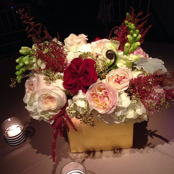 Burgundy Blush And Gold Centerpiece Christmas Wedding