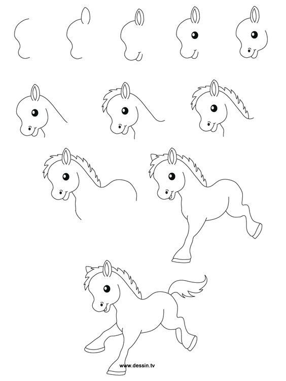 Une autre id e de poney dessin facile pinterest poneys dessiner et dessiner - Idee de dessin facile ...