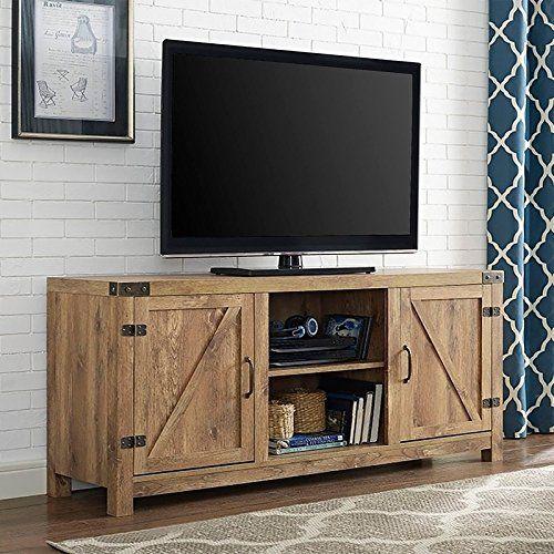 Modhaus Living Modern Rustic 2 Door Media Cabinet Tv Stands With Adjustable Shelves Includes Pen Beige Barn Door Tv Stand Tv Stand With Doors Saracina Home