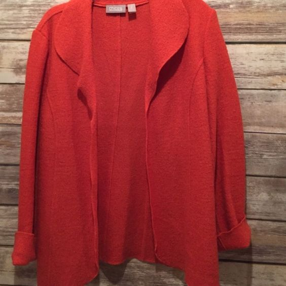Chico's boiled wool blazer Chico's burnt orange boiled wool size 2(large) blazer worn once Chico's Jackets & Coats Blazers