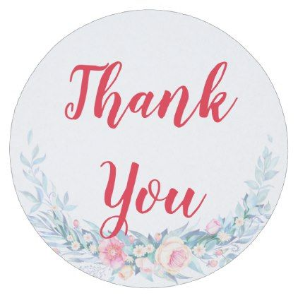 Custom thank you flowers frame round paper coaster - watercolor gifts style unique ideas diy