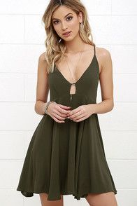 Let the island hopping begin in style with the Samana Bay Olive Green Dress! A fitted, triangle bodice with center cutout is supported by crisscrossing straps that tie at back. Medium-weight woven rayon shapes a full skirt below. #CuteDresses #TrendyTops, #FashionShoes #JuniorsClothing