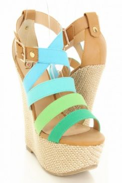 Turquoise Multi Canvas Faux Leather Strappy Woven Wedges $23.99.. IN LOVE too bad I can't wear heels anymore, @Travis Thurston   :(