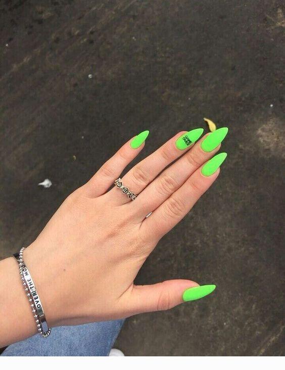 Neon Green Medium Nails Coolladies Net In 2020 Neon Green Nails Green Nails Pretty Acrylic Nails