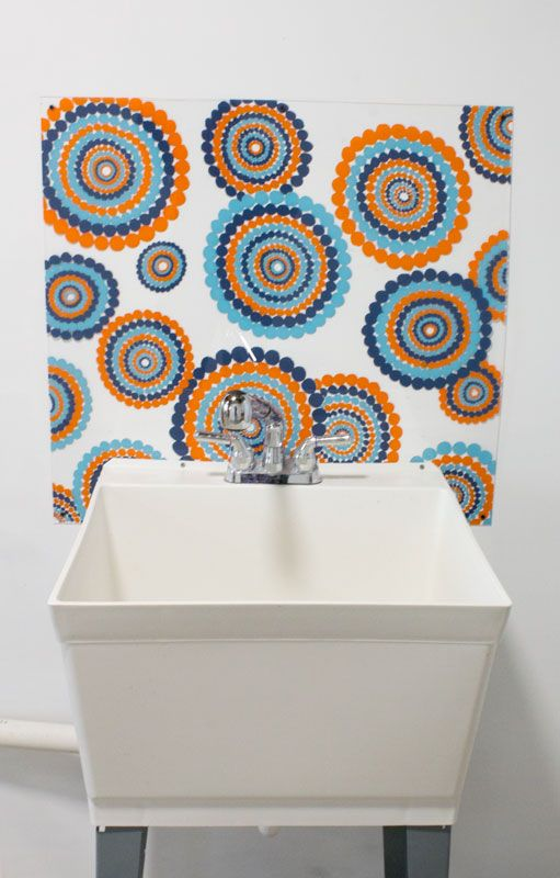 Functional Utility Sink Backsplash Idea Chica And Jo Backsplash Herringbone Backsplash Diy Backsplash