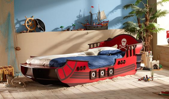 Kinderbett Piratenschiff Bett Piraten Autobett Spielbett Crazy Shark 90x200cm