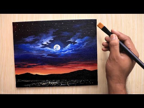 Acrylic Painting Of Dramatic Moonlight Night Sky Landscape Step By Step Easy Youtube Night Sky Painting Moonlight Painting Nature Paintings Acrylic