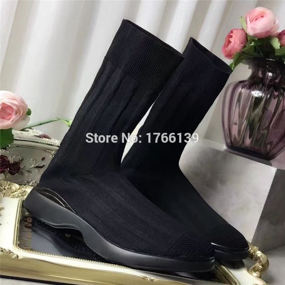 68.60$  Watch now - http://alio5x.worldwells.pw/go.php?t=32757722968 - Fashion Women Flats Thick Heel Slip on Ankle Boots Stretch Women Casual Shoes Autumn Winter Knit Sock Boots Zapatos Mujer 68.60$