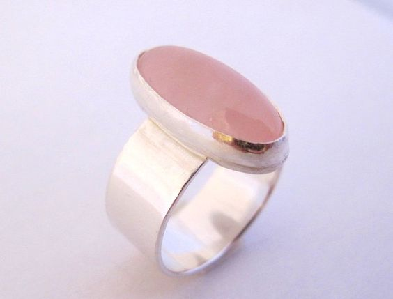 Rose Quartz Ring/ Silver Ring with Oval Rose Quartz Gemstone/Wide Band. via Etsy.