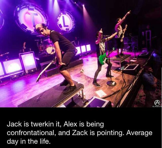 Haha Jack is twerking, Alex is flipping everyone off, and Zack is pointing. All time low everyone :)