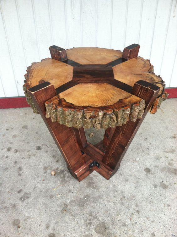 Log Slab Side Table Or Coffee Table Rustic By