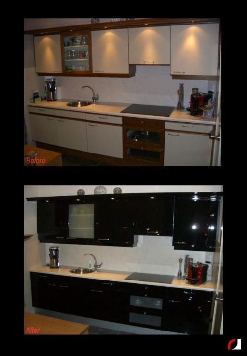 Witte keuken in hoogglans zwart gespoten! #Spuiterij #