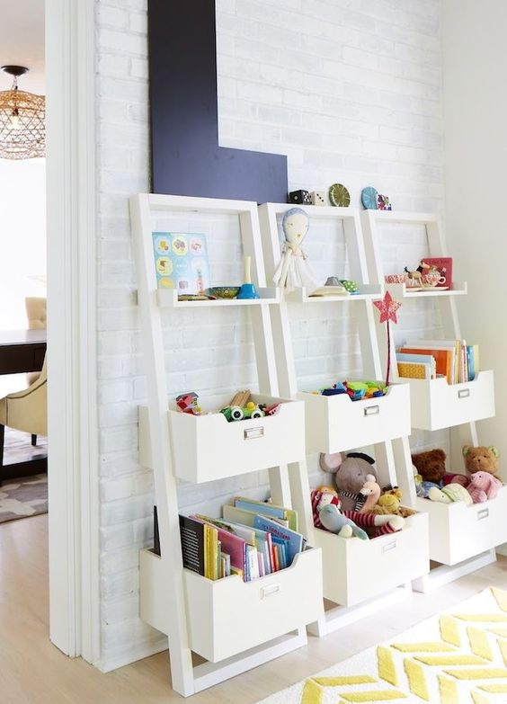 Leaning storage shelving - great idea to line up in basement for toy storage!: