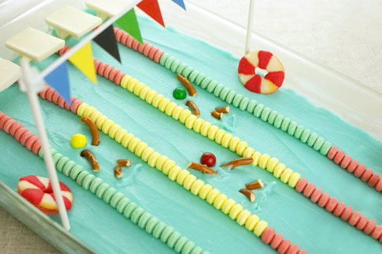 Olympic Swimming Pool Cake made with Candy Necklaces, Sixlets, and Peach Gummy Rings.