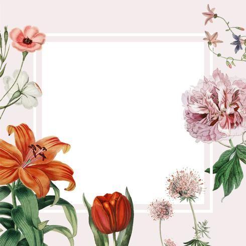 Colorful Vintage Floral Design Frame Spring Flower Seamless Minimal Frame In 2020 Flower Illustration Frame Design Floral Border Design