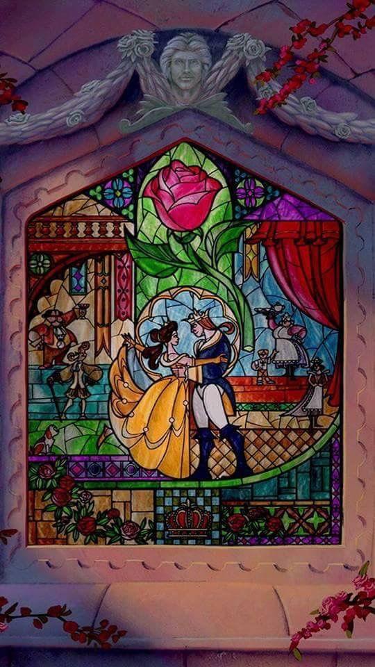 Beauty The Beast Stain Glass Window Disney Art Disney Beauty