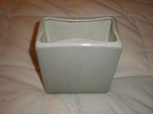 vintage hyalyn pottery square grey vase