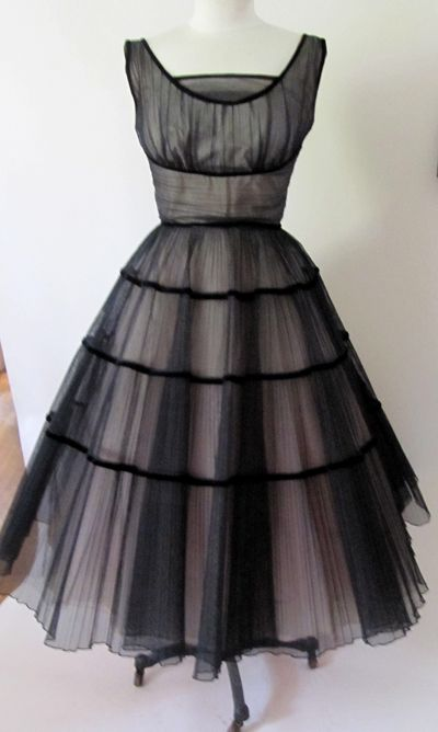 Vintage 1950's black and pink tulle dress