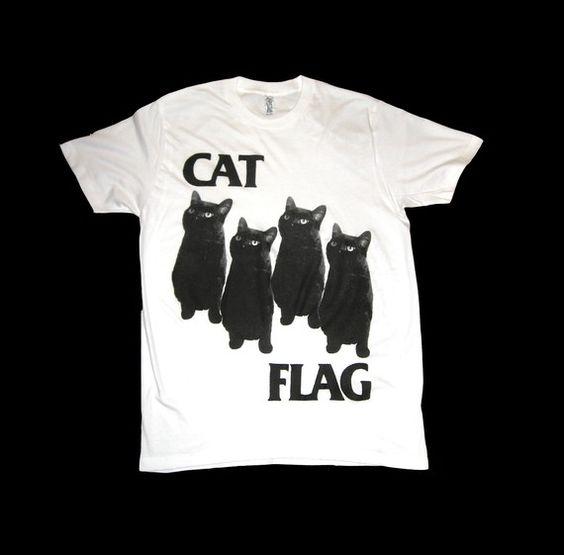 Black Flag CAT FLAG T Shirt Size Medium by SleazySeagull on Etsy, $23.99