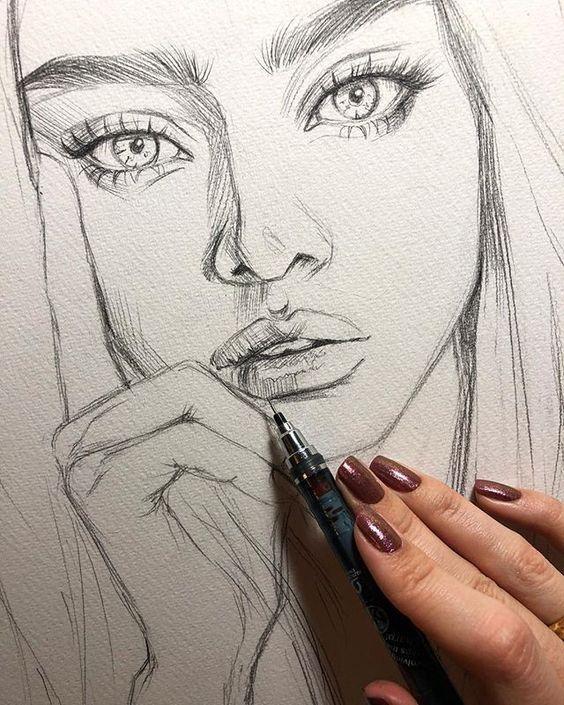 Dibujos De Rostro Mujer Hermosa Con Labios Gruesos Dibujos A Lapiz Rostros Dibujos Rostros De Arte