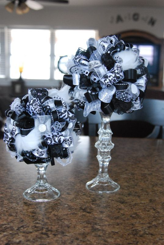 Centerpieces styrofoam ball and stick pins on pinterest - Black and white wedding theme centerpieces ...