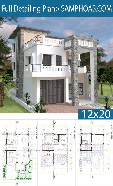 Modern House Plan 9x14 5m With 4 Bedrooms Samphoas Plan Modern House Modern House Plan Modern House Plans