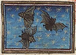 Three bats flying in a starry sky, MMW, 10 B 25, Folio 34r, ca 1450, Museum Meermanno, Den Haag.