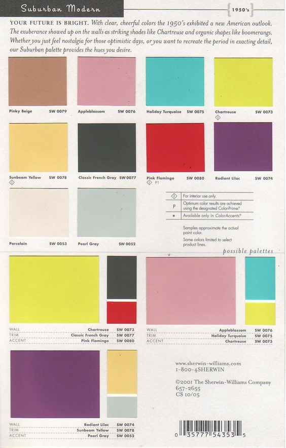 Sherwin Williams 1950s color palette. | Paint & Pigments ...
