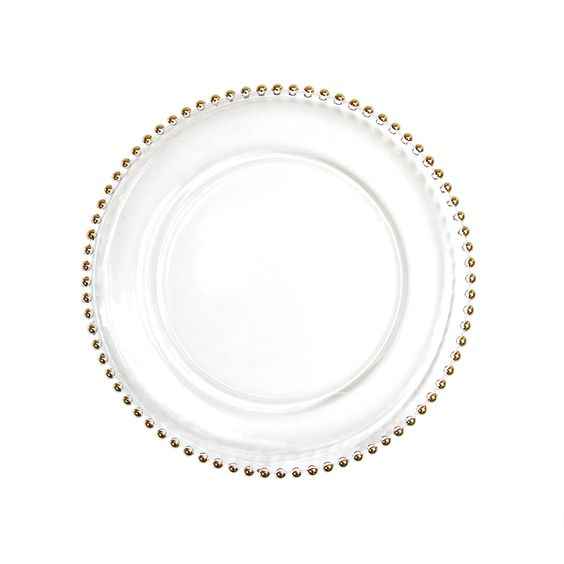 clear glass gold beaded couture charger plate 4 pack 424658 wholesale wedding supplies