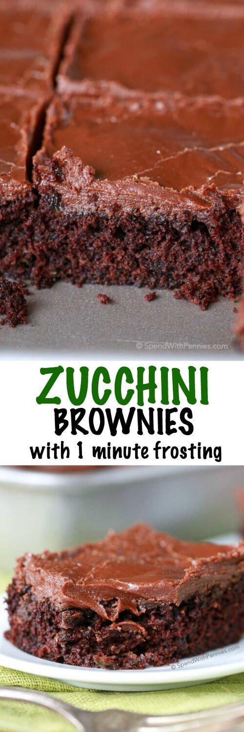 Easy Zucchini Brownies with 1 minute Frosting! These are quick so easy... and the zucchini keeps them so moist and the frosting is ridiculously yummy!