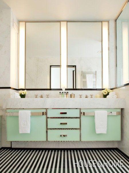 West Elm Redecorates New York City S Gracie Mansion Art Deco Bathroom Mint Bathroom Bathroom Design