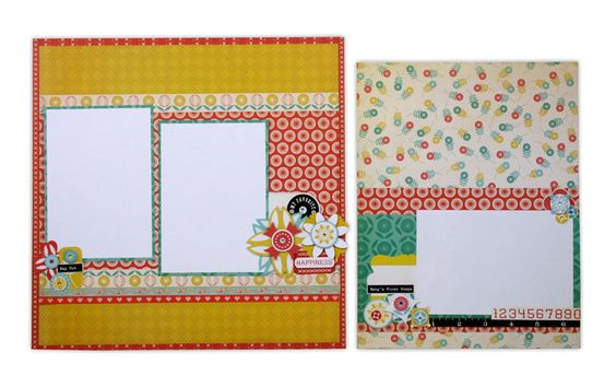 Layout ideas using the Cosmo Cricket Baby Jane line. Click through image for more layout ideas.
