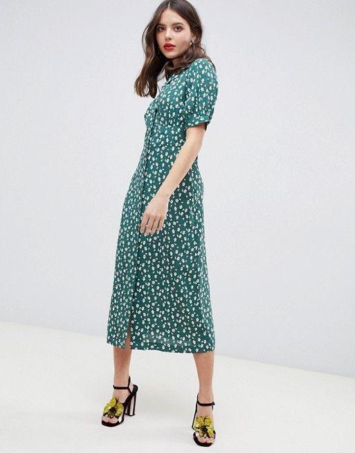 Asos Asos Design City Maxi Tea Dress With Split In Black Floral Chic Summer Dresses Tea Dress High Tea Dress
