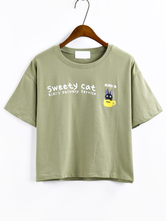 Cartoon+Cat+Print+T-shirt+-+Olive+Green+11.99