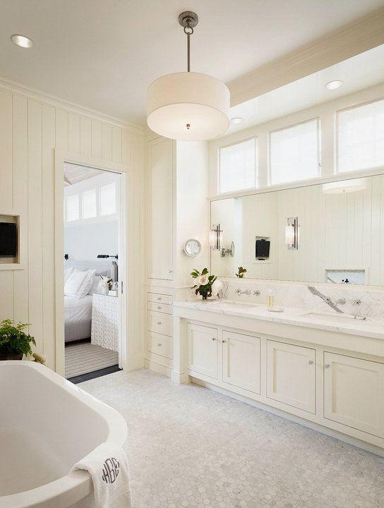Master Floor Tile Carrara Marble Bathroom Off White Bathroom Cabinets Transitional
