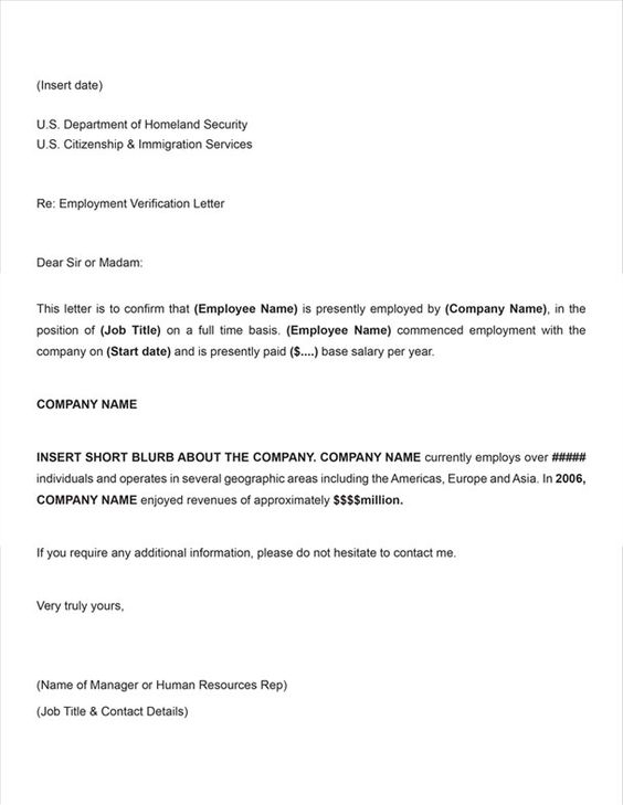 Printable Sample Letter Of Employment Verification Form – Letter of Employment Verification