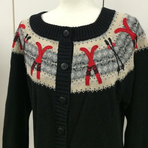 Coldwater Creek XL sweater 53% ramie & 47% cotton black button ...