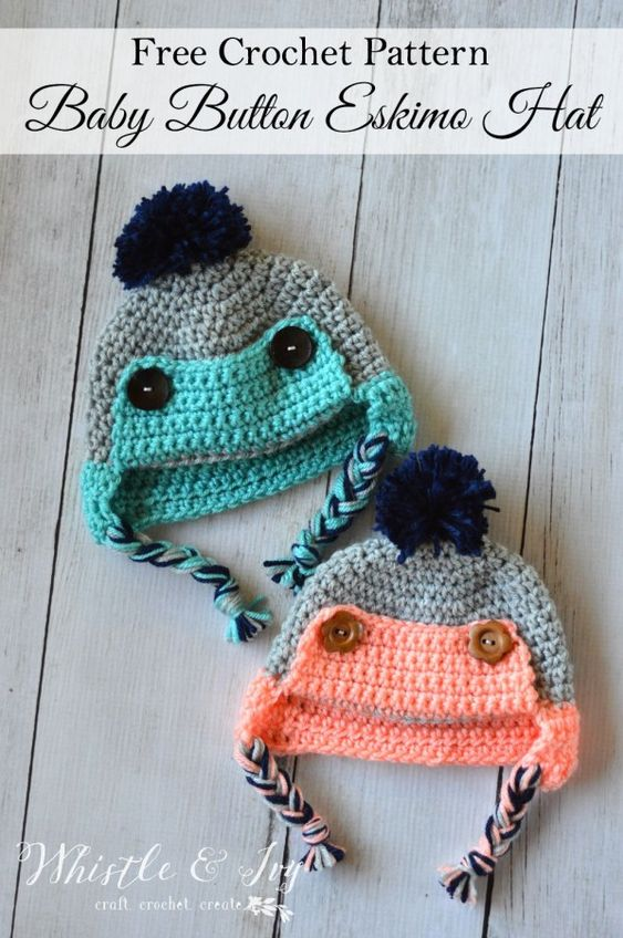 Button Eskimo Baby Hat - This cozy hat is a cute and fun baby accessory for winter! {Free pattern by Whistle and ivy}:
