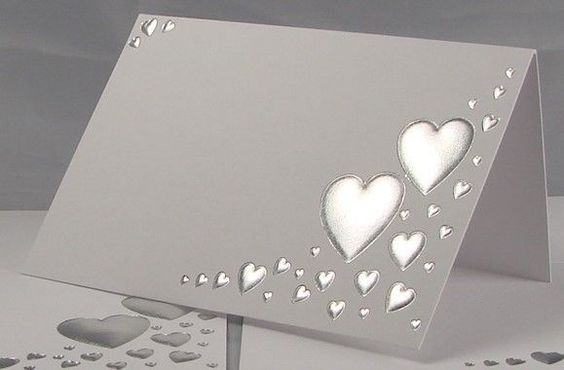 50 White And Silver Wedding Party Name Table Place Cards Heart Embossed