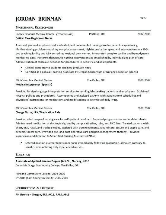 Examples Of Nurse Resumes Emergency Room Nurse Resume Example Example Nurse Resumes Examples Of Nursing Resume Examples Registered Nurse Resume Nursing Resume